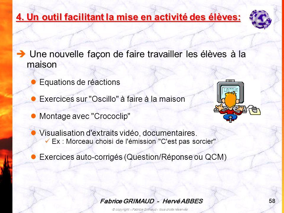 Fabrice GRIMAUD - Hervé ABBES © copyright - Fabrice Grimaud - tous droits réservés 58 Une nouvelle façon de faire travailler les élèves à la maison Eq