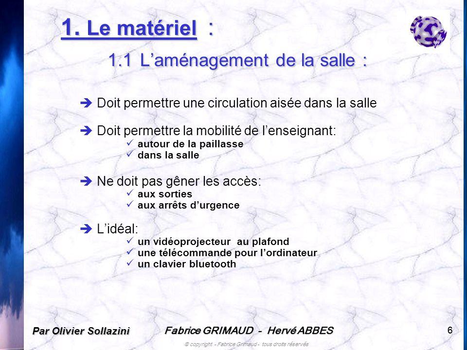 Fabrice GRIMAUD - Hervé ABBES © copyright - Fabrice Grimaud - tous droits réservés 66 1. Le matériel : 1.1 Laménagement de la salle : Doit permettre u