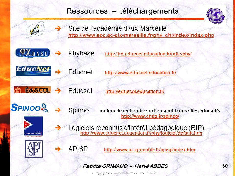 Fabrice GRIMAUD - Hervé ABBES © copyright - Fabrice Grimaud - tous droits réservés 60 Ressources – téléchargements Site de lacadémie dAix-Marseille ht