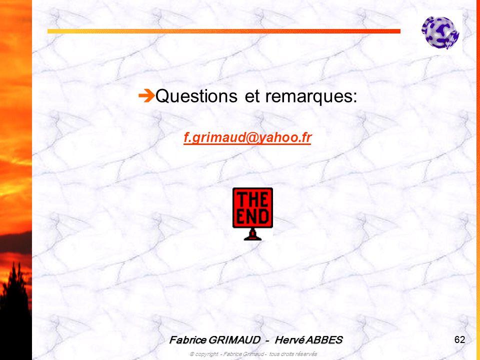 Fabrice GRIMAUD - Hervé ABBES © copyright - Fabrice Grimaud - tous droits réservés 62 Questions et remarques: f.grimaud@yahoo.fr