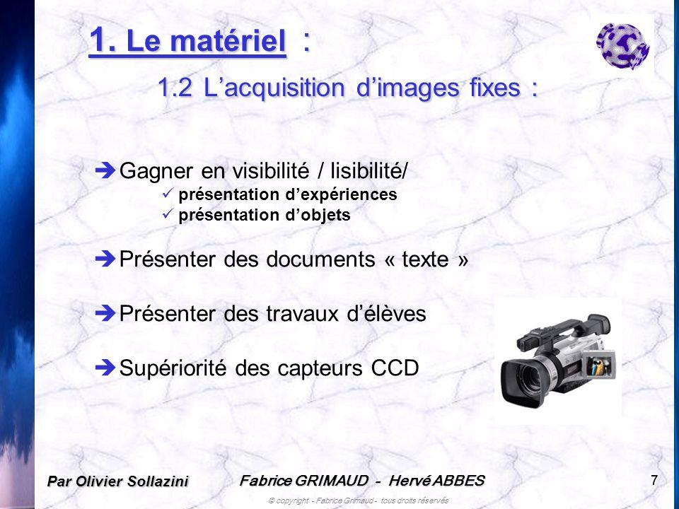 Fabrice GRIMAUD - Hervé ABBES © copyright - Fabrice Grimaud - tous droits réservés 77 1. Le matériel : 1.2 Lacquisition dimages fixes : Gagner en visi