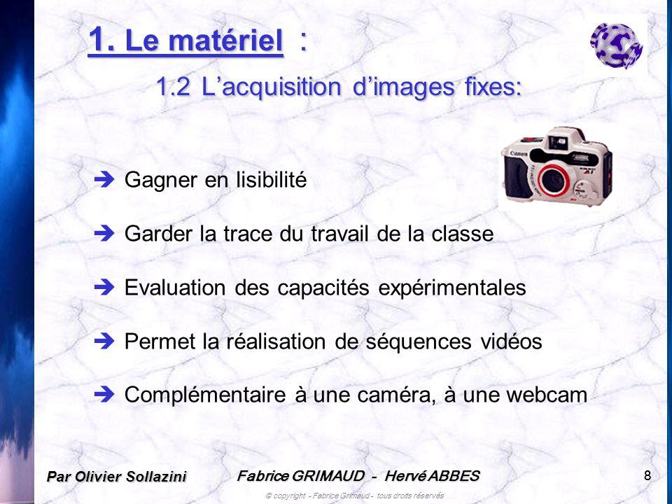 Fabrice GRIMAUD - Hervé ABBES © copyright - Fabrice Grimaud - tous droits réservés 88 1. Le matériel : 1.2 Lacquisition dimages fixes: Gagner en lisib