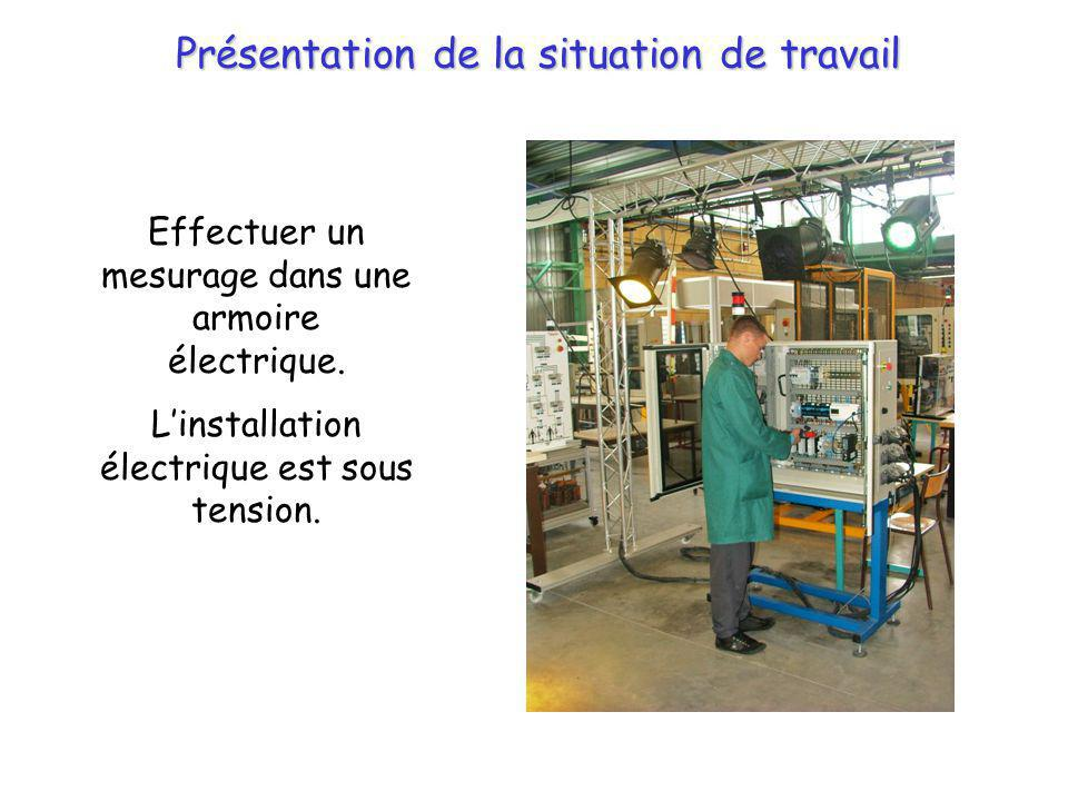 Présentation de la situation de travail Effectuer un mesurage dans une armoire électrique. Linstallation électrique est sous tension.