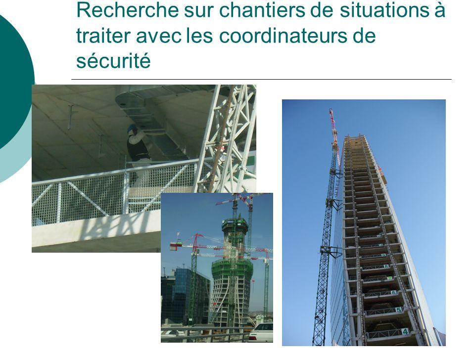 Recherche sur chantiers de situations à traiter avec les coordinateurs de sécurité