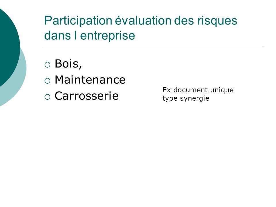 Participation évaluation des risques dans l entreprise Bois, Maintenance Carrosserie Ex document unique type synergie