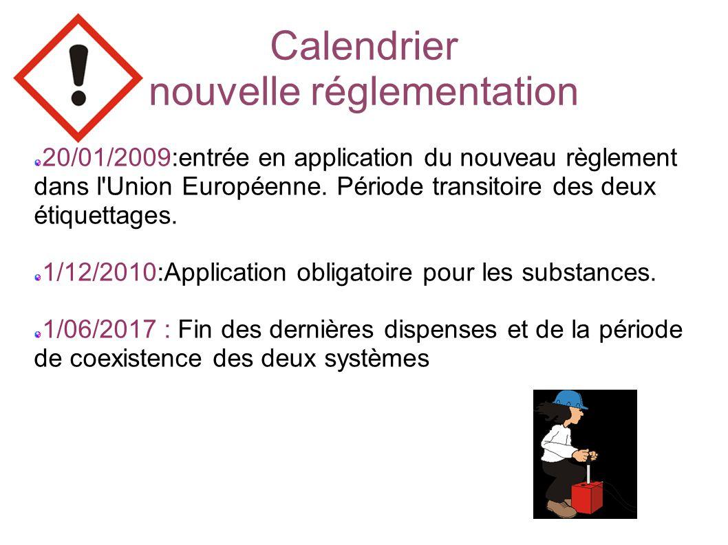 Calendrier nouvelle réglementation 20/01/2009:entrée en application du nouveau règlement dans l Union Européenne.