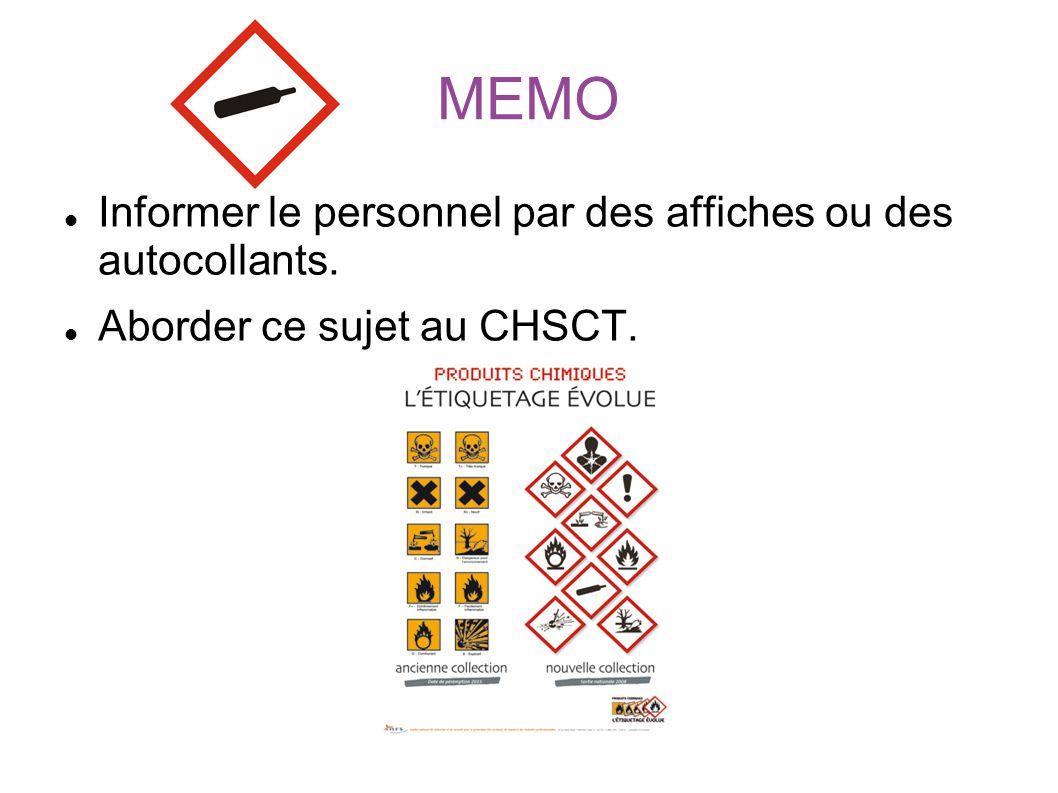 MEMO Informer le personnel par des affiches ou des autocollants. Aborder ce sujet au CHSCT.
