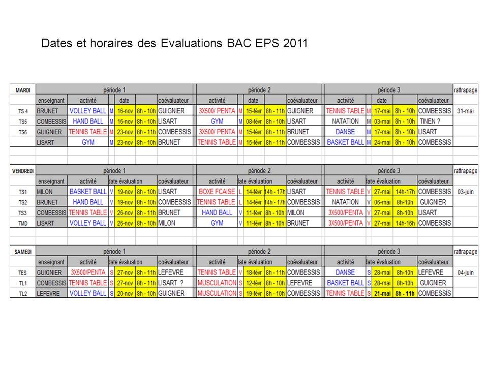 lisart lefevre Dates et horaires des Evaluations BAC EPS 2011