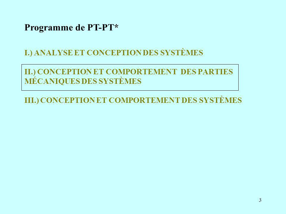 4 II.) CONCEPTION ET COMPORTEMENT DES PARTIES MÉCANIQUES DES SYSTÈMES II.1.) Mécanique des chaînes de solides II.1.1.) Dynamique des solides à masse conservative II.1.1.a) Caractéristiques d inertie des solides II.1.1.b) Cinétique II.1.1.c) Principe fondamental de la dynamique II.1.1.d) Représentation causale II.1.2.) Analyse des mécanismes II.1.2.a) Définitions II.1.2.b) Étude des chaînes de solides indéformables II.1.2.c) Formules de mobilité II.1.3.) Résistance des matériaux II.2.) Fonctions techniques II.3.) Définition des ensembles mécaniques II.4.) Approche Produit-Procédé-Matériau