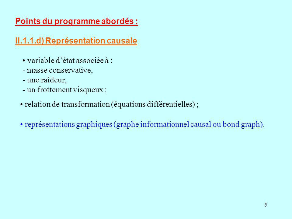 5 représentations graphiques (graphe informationnel causal ou bond graph). Points du programme abordés : II.1.1.d) Représentation causale variable dét