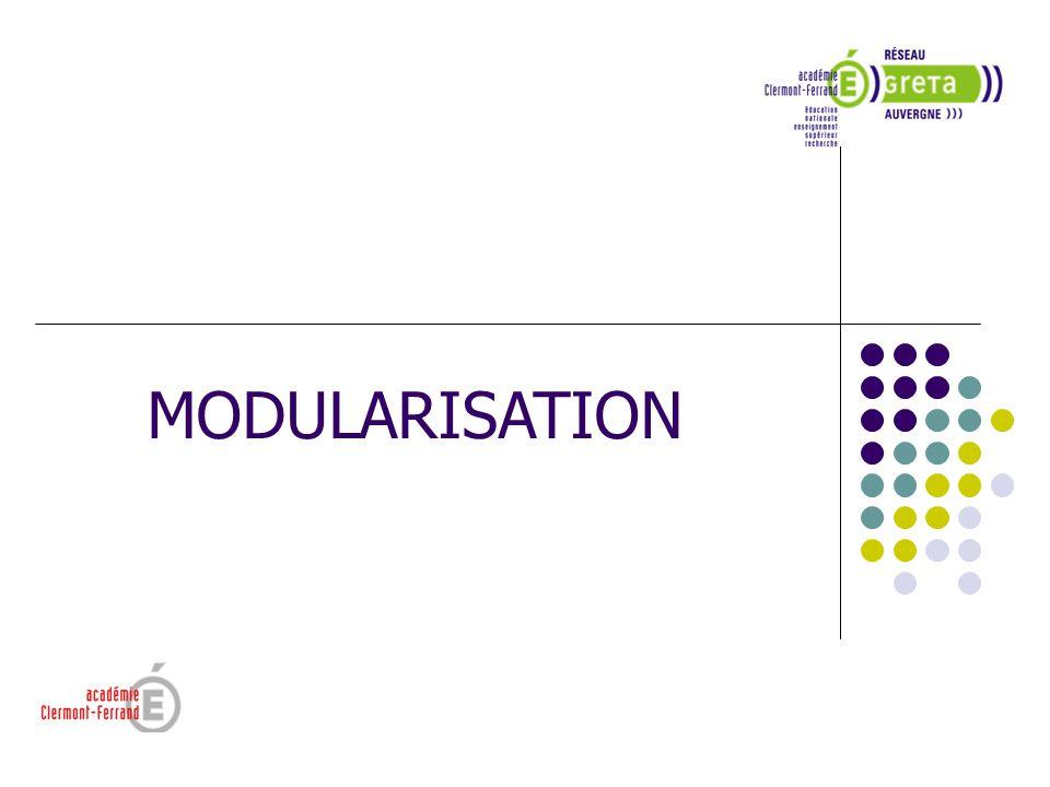 Sortir Positionner Bilan des pré requis Vérification des acquis 1 2 PARCOURS DE FORMATION MODULARISE (Principe) PROGRAMMEPROGRAMMEPROGRAMMEPROGRAMME REFERENTIELREFERENTIELREFERENTIELREFERENTIEL MODULESMODULESMODULESMODULES 3 4 Évaluation et/ou certification partielle Évaluation et/ou certification Partielle ou globale Référent Contractualisation Pluridisciplinarité Individualiser le parcours Recrutement (ou Entrer) Construire le parcours individualisé de formation LA MODULARISATION ESPACE- TEMPS et articulation MODULE Synthèse