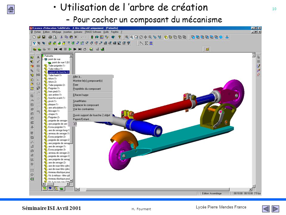 10 Lycée Pierre Mendes France H. Fourment Séminaire ISI Avril 2001 Utilisation de l arbre de création –Pour cacher un composant du mécanisme