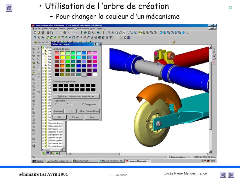 12 Lycée Pierre Mendes France H. Fourment Séminaire ISI Avril 2001 Utilisation de l arbre de création –Pour changer la couleur d un mécanisme