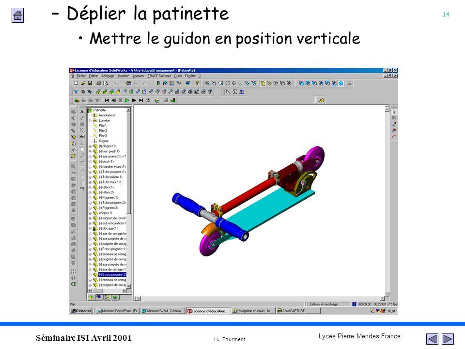 14 Lycée Pierre Mendes France H. Fourment Séminaire ISI Avril 2001 Mettre le guidon en position verticale –Déplier la patinette