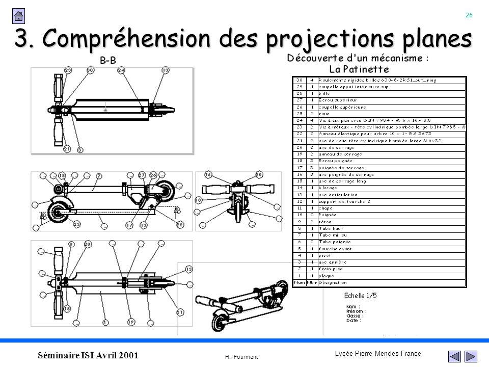 26 Lycée Pierre Mendes France H. Fourment Séminaire ISI Avril 2001 3. Compréhension des projections planes