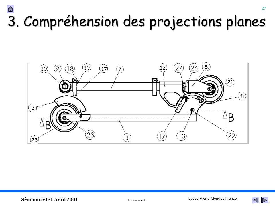 27 Lycée Pierre Mendes France H. Fourment Séminaire ISI Avril 2001 3. Compréhension des projections planes 10 19 17 12 5 21 11 1 25 2