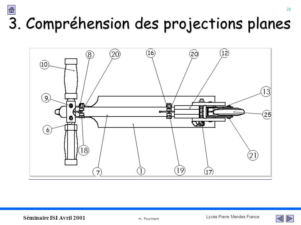 28 Lycée Pierre Mendes France H. Fourment Séminaire ISI Avril 2001 3. Compréhension des projections planes 10 9 6 16 20 12 25 17 7
