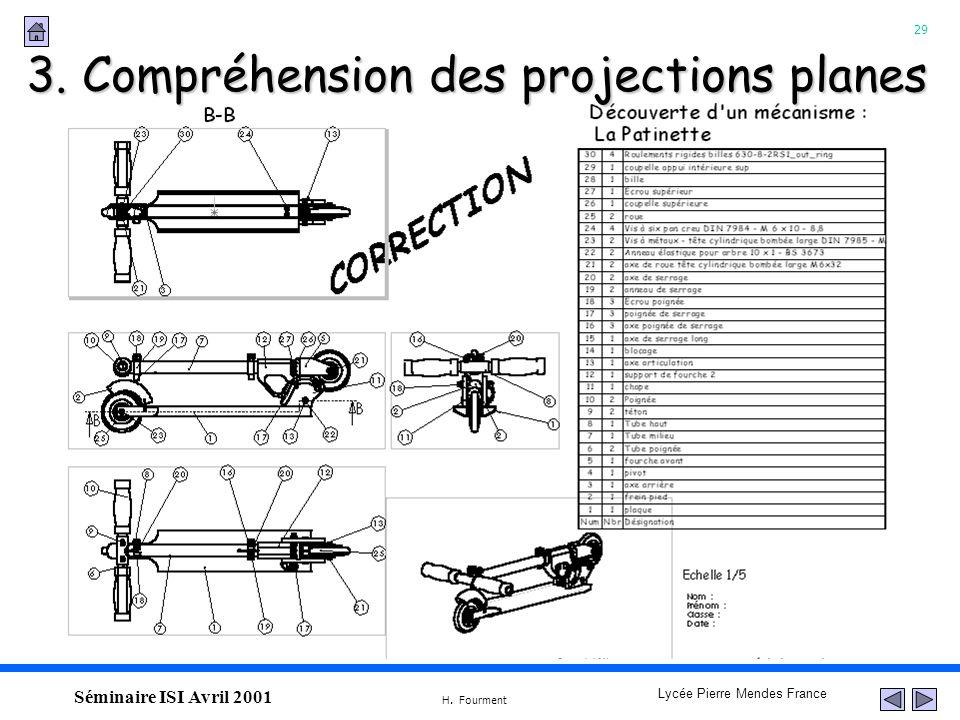 29 Lycée Pierre Mendes France H. Fourment Séminaire ISI Avril 2001 3. Compréhension des projections planes