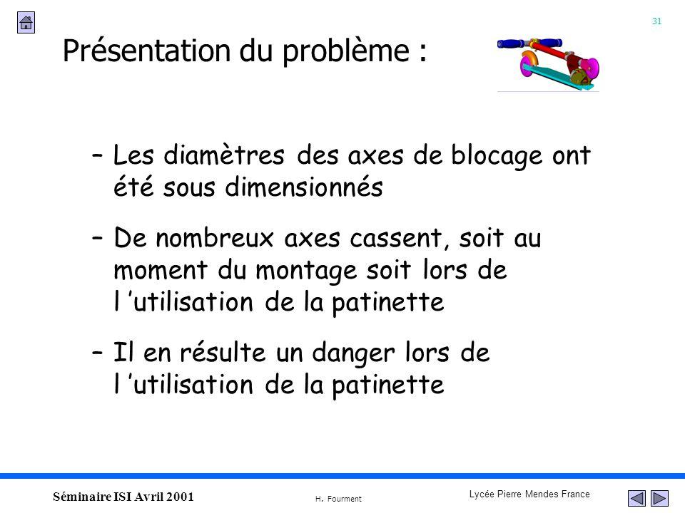 31 Lycée Pierre Mendes France H. Fourment Séminaire ISI Avril 2001 –Les diamètres des axes de blocage ont été sous dimensionnés –De nombreux axes cass