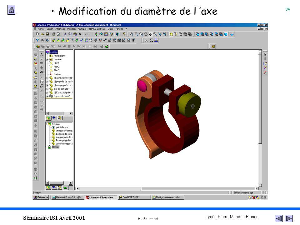 34 Lycée Pierre Mendes France H. Fourment Séminaire ISI Avril 2001 Modification du diamètre de l axe