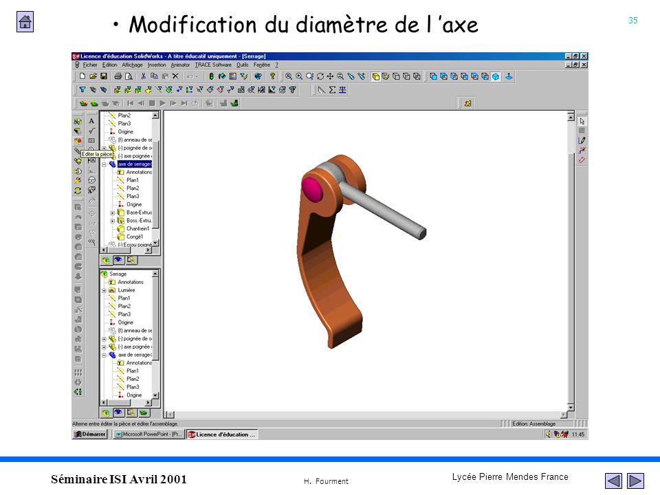 35 Lycée Pierre Mendes France H. Fourment Séminaire ISI Avril 2001 Modification du diamètre de l axe