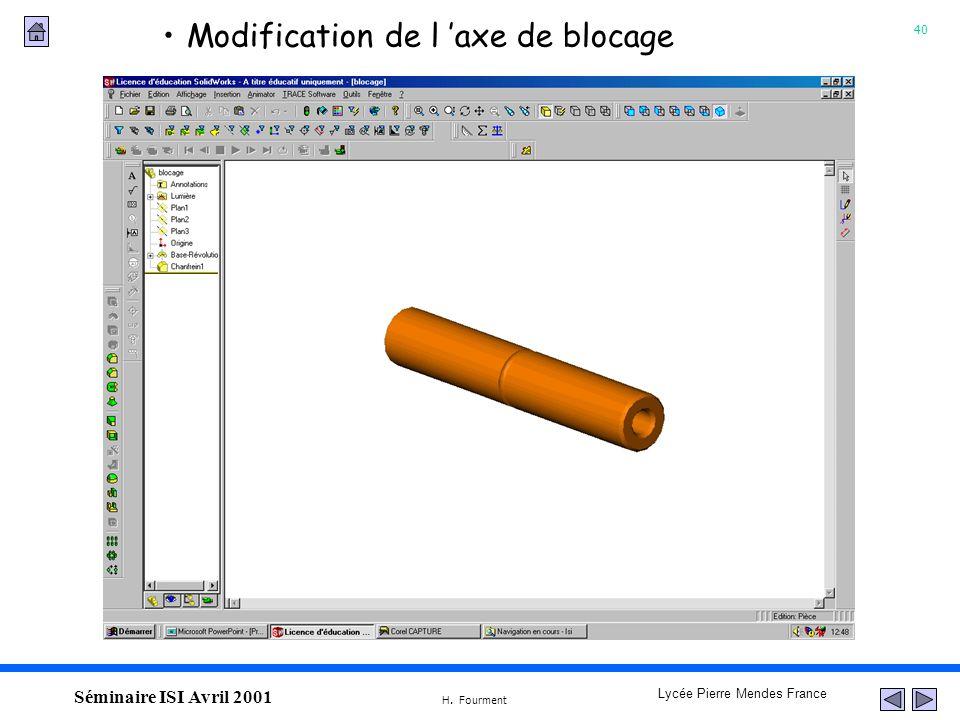40 Lycée Pierre Mendes France H. Fourment Séminaire ISI Avril 2001 Modification de l axe de blocage