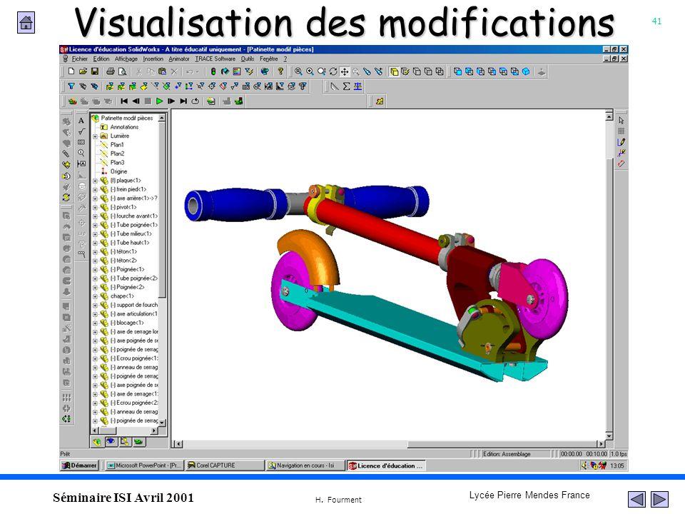 41 Lycée Pierre Mendes France H. Fourment Séminaire ISI Avril 2001 Visualisation des modifications