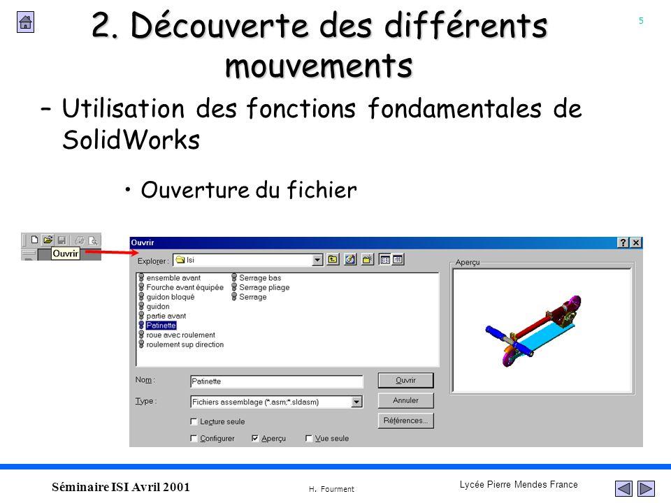 5 Lycée Pierre Mendes France H. Fourment Séminaire ISI Avril 2001 –Utilisation des fonctions fondamentales de SolidWorks 2. Découverte des différents