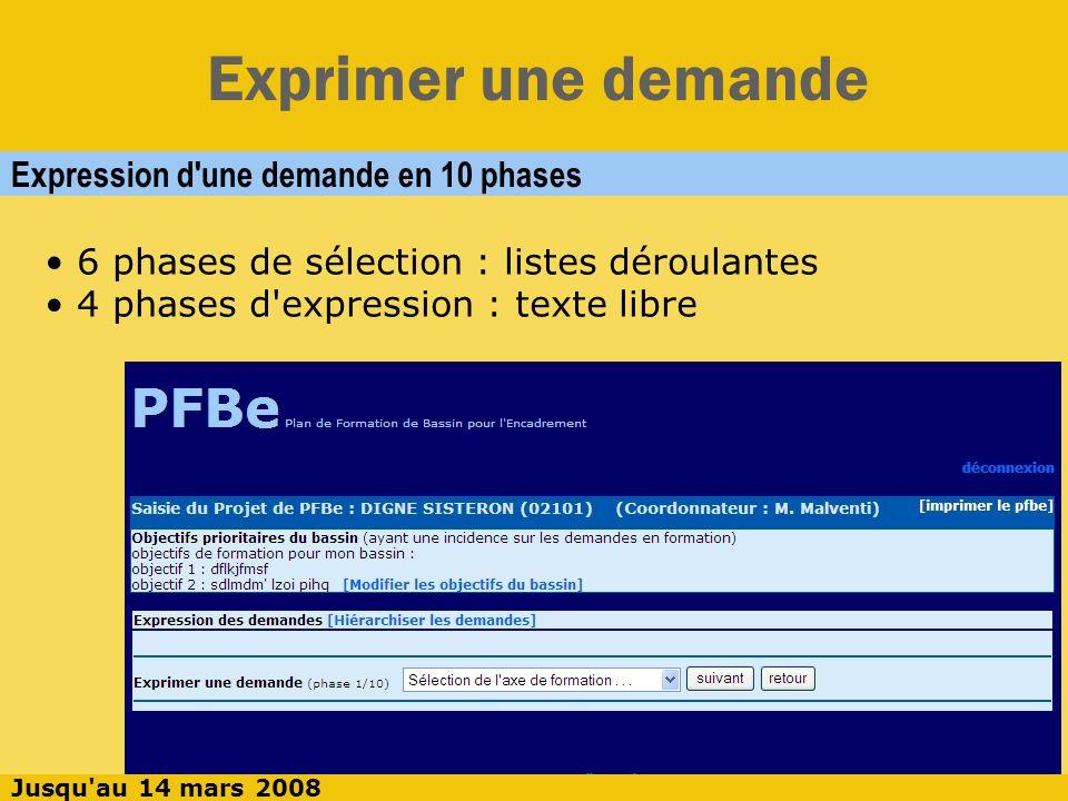 Exprimer une demande Phase 1 : Sélection de l axe de formation Sélection, puis [suivant] Jusqu au 14 mars 2008