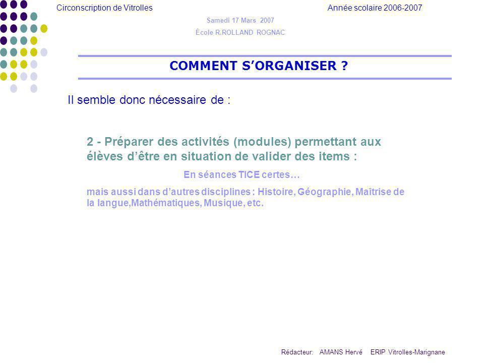 Circonscription de Vitrolles Année scolaire 2006-2007 Rédacteur: AMANS Hervé ERIP Vitrolles-Marignane COMMENT SORGANISER ? Il semble donc nécessaire d