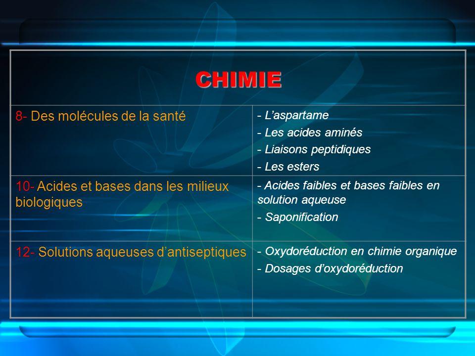 CHIMIE 8- Des molécules de la santé - Laspartame - Les acides aminés - Liaisons peptidiques - Les esters 10- Acides et bases dans les milieux biologiq