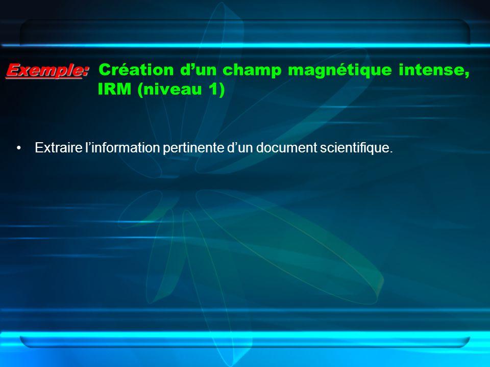 Exemple: Exemple: Création dun champ magnétique intense, IRM (niveau 1) Extraire linformation pertinente dun document scientifique.