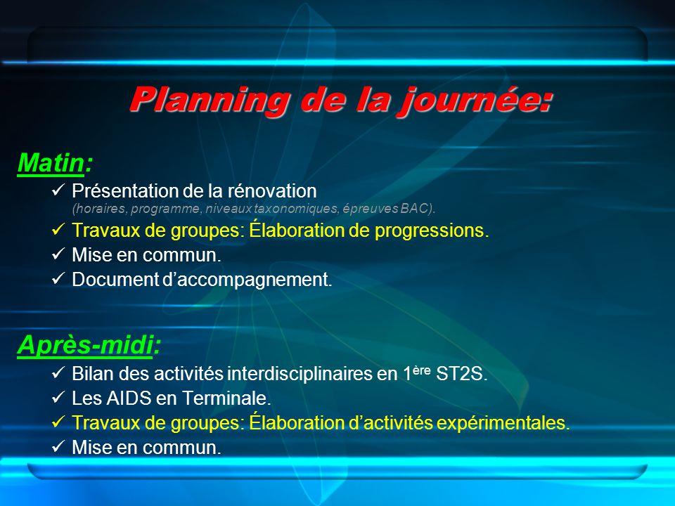Planning de la journée: Matin: Présentation de la rénovation (horaires, programme, niveaux taxonomiques, épreuves BAC). Travaux de groupes: Élaboratio