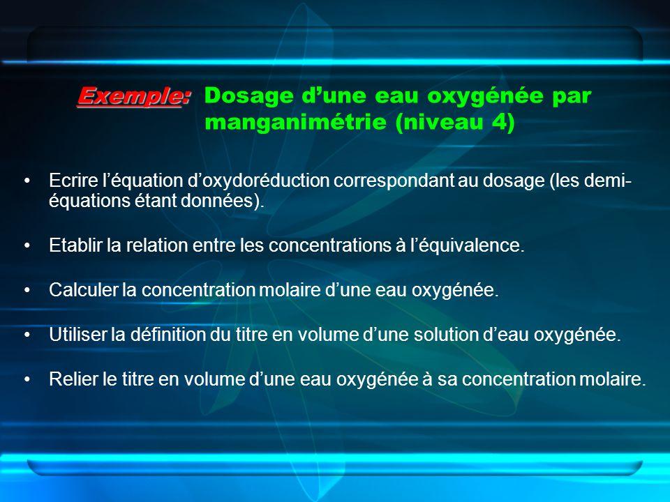 Exemple: Exemple: Dosage dune eau oxygénée par manganimétrie (niveau 4) Ecrire léquation doxydoréduction correspondant au dosage (les demi- équations