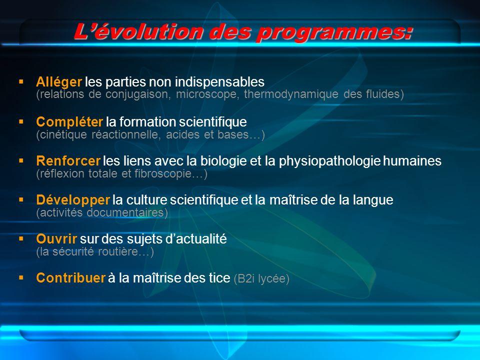 Lévolution des programmes: Alléger les parties non indispensables (relations de conjugaison, microscope, thermodynamique des fluides) Compléter la for