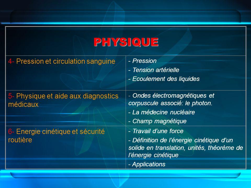 PHYSIQUE 4- Pression et circulation sanguine - Pression - Tension artérielle - Ecoulement des liquides 5- Physique et aide aux diagnostics médicaux -