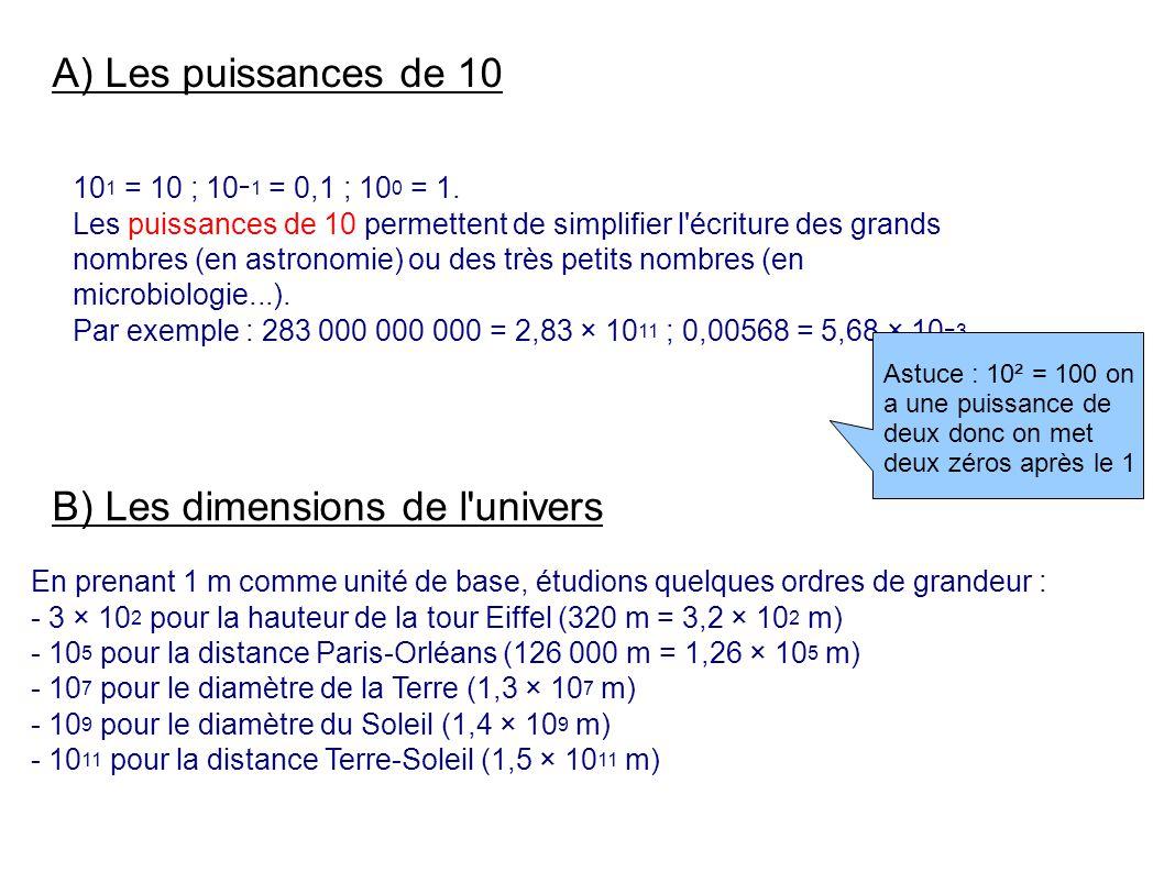 A) Les puissances de 10 10 1 = 10 ; 10 1 = 0,1 ; 10 0 = 1.