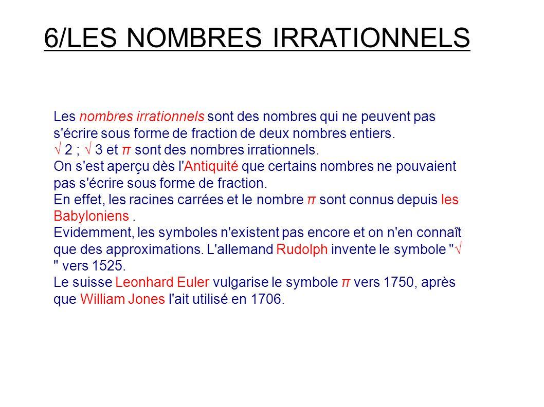 6/LES NOMBRES IRRATIONNELS Les nombres irrationnels sont des nombres qui ne peuvent pas s écrire sous forme de fraction de deux nombres entiers.