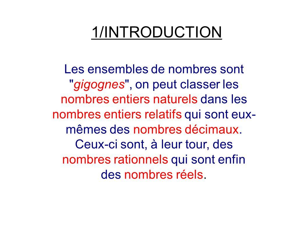 1/INTRODUCTION Les ensembles de nombres sont gigognes , on peut classer les nombres entiers naturels dans les nombres entiers relatifs qui sont eux- mêmes des nombres décimaux.