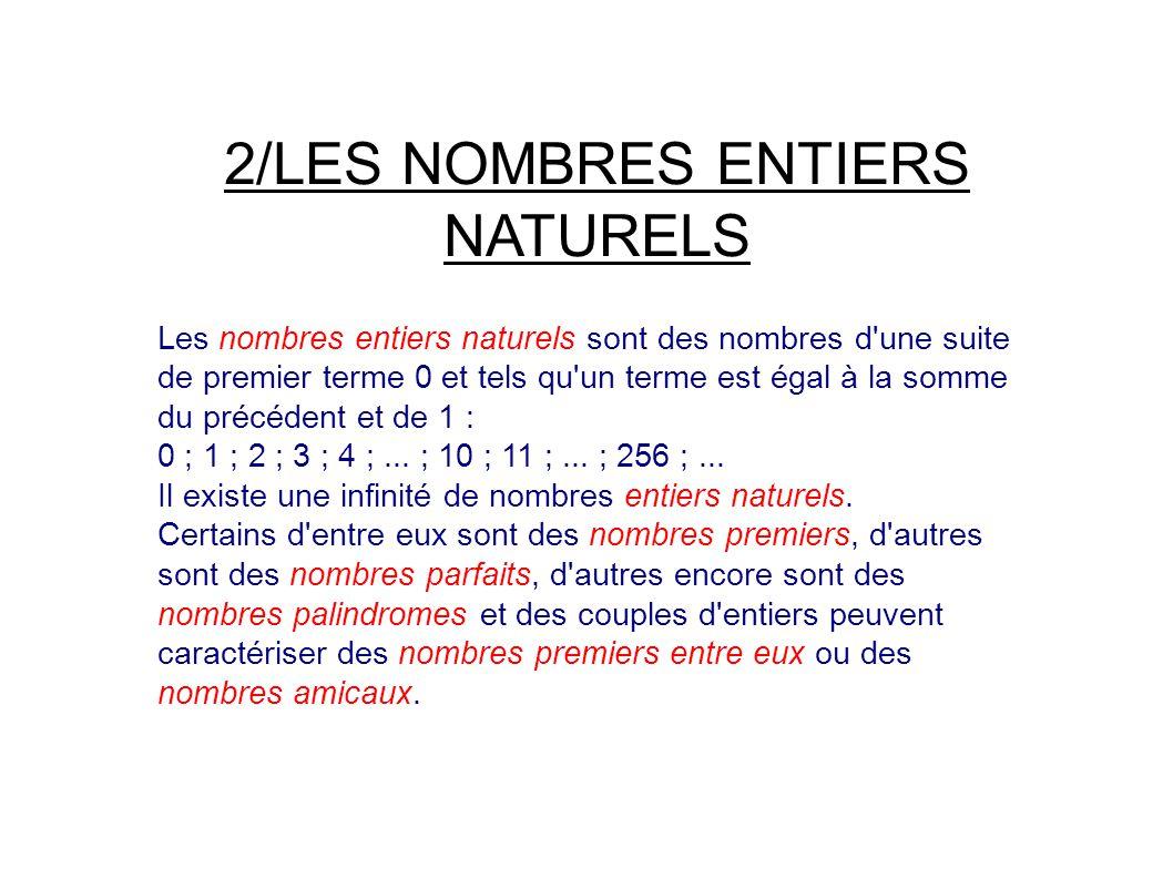 2/LES NOMBRES ENTIERS NATURELS Les nombres entiers naturels sont des nombres d une suite de premier terme 0 et tels qu un terme est égal à la somme du précédent et de 1 : 0 ; 1 ; 2 ; 3 ; 4 ;...