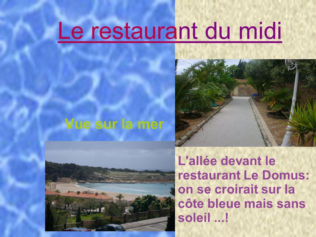 L allée du resto Le restaurant du midi Vue sur la mer L allée devant le restaurant Le Domus: on se croirait sur la côte bleue mais sans soleil...!