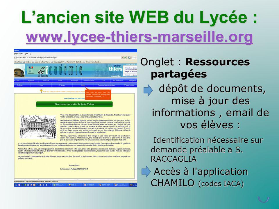 Lancien site WEB du Lycée : www.lycee-thiers-marseille.org www.lycee-thiers-marseille.org Onglet : Ressources partagées dépôt de documents, mise à jou