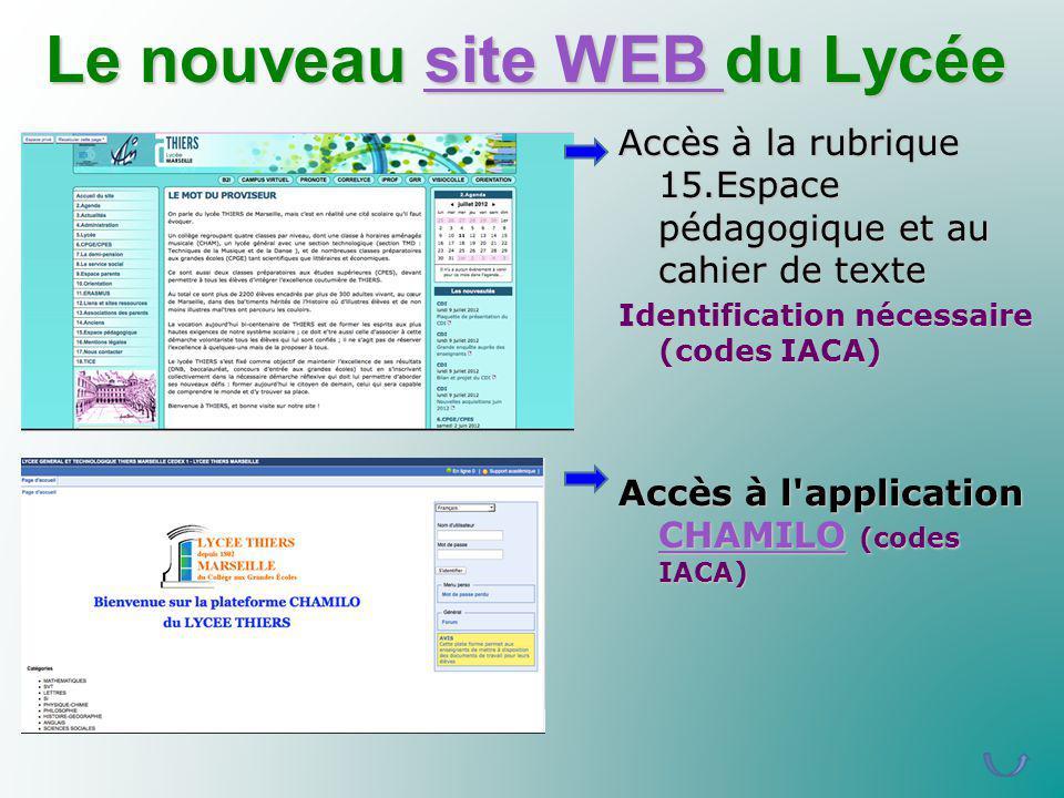 Le nouveau site WEB du Lycée site WEB site WEB Accès à la rubrique 15.Espace pédagogique et au cahier de texte Identification nécessaire (codes IACA)
