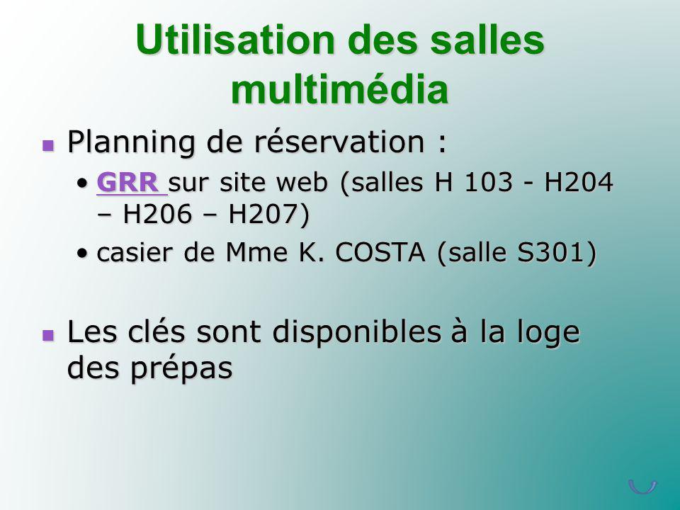 Utilisation des salles multimédia Planning de réservation : Planning de réservation : GRR sur site web (salles H 103 - H204 – H206 – H207)GRR sur site