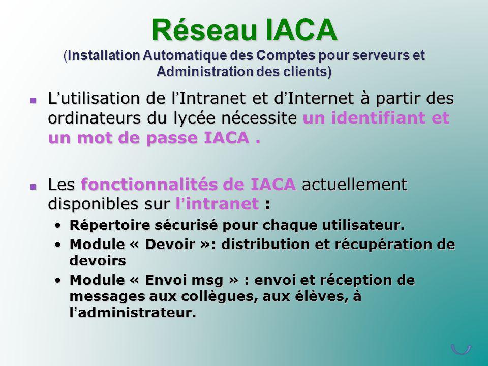 Réseau IACA (Installation Automatique des Comptes pour serveurs et Administration des clients) Lutilisation de lIntranet et dInternet à partir des ord