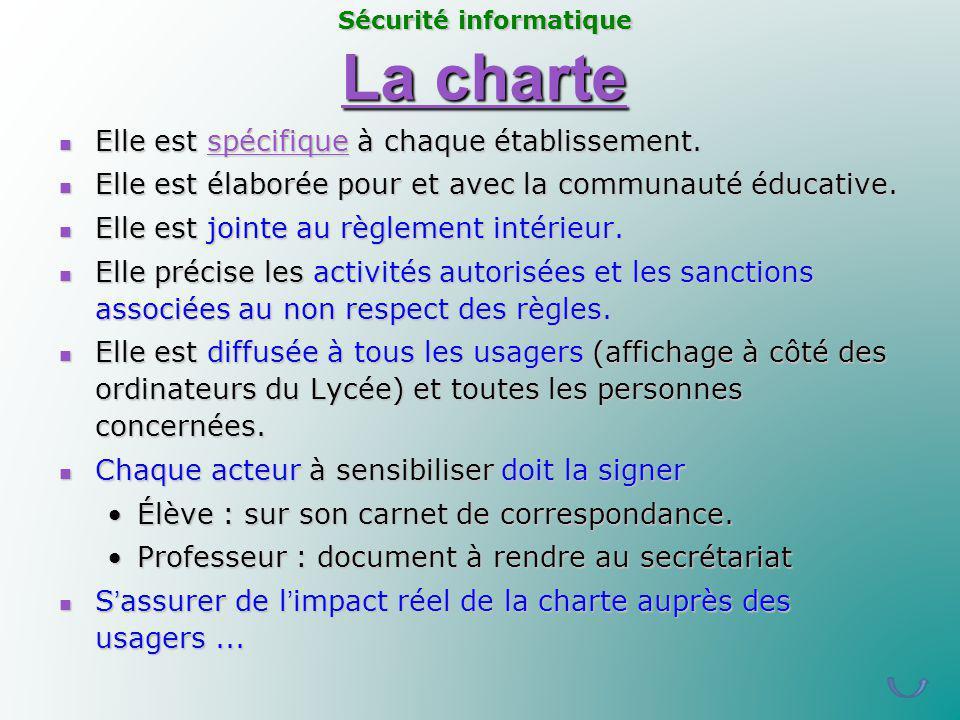 La charte La charte Elle est spécifique à chaque établissement. Elle est spécifique à chaque établissement.spécifique Elle est élaborée pour et avec l