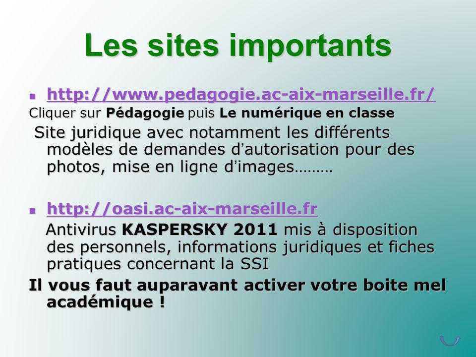 Les sites importants http://www.pedagogie.ac-aix-marseille.fr/ http://www.pedagogie.ac-aix-marseille.fr/ http://www.pedagogie.ac-aix-marseille.fr/ Cli