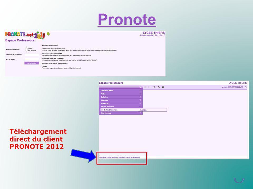 Pronote Téléchargement direct du client PRONOTE 2012