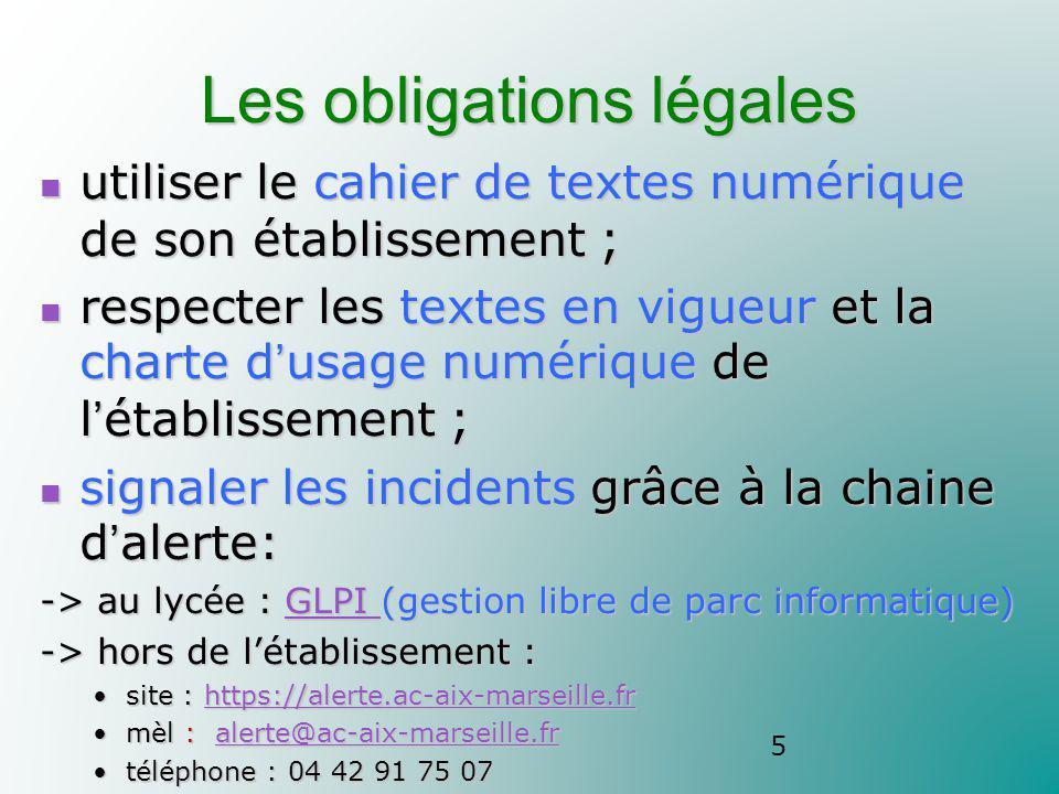 Les obligations légales utiliser le cahier de textes numérique de son établissement ; utiliser le cahier de textes numérique de son établissement ; re