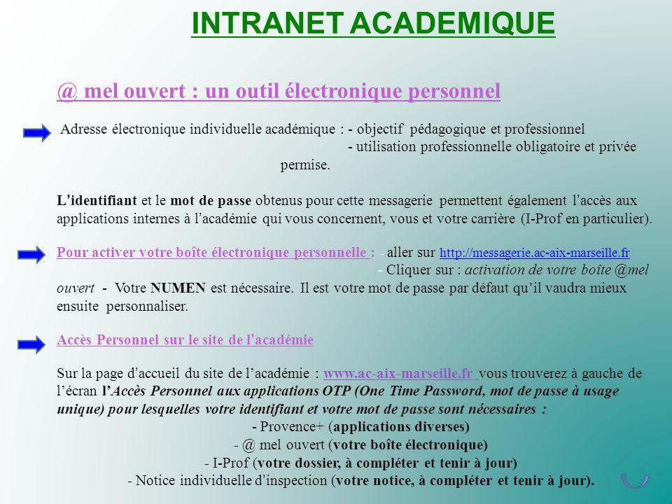 INTRANET ACADEMIQUE @ mel ouvert : un outil électronique personnel Adresse électronique individuelle académique : - objectif pédagogique et profession